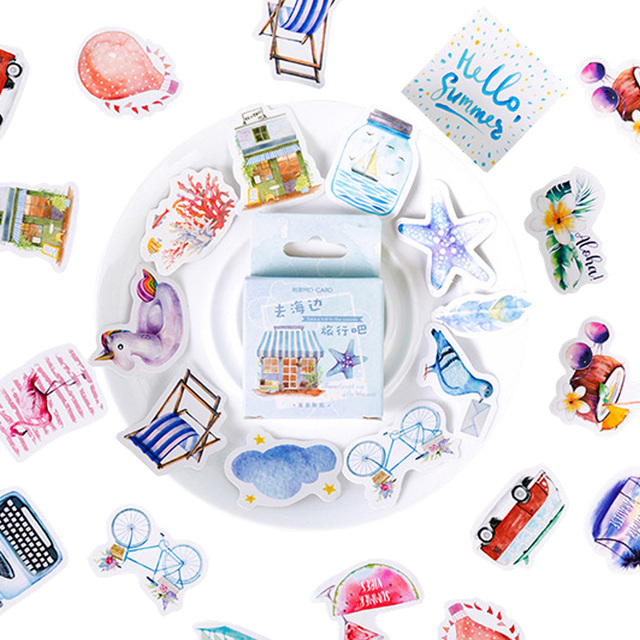 20packs/lot Cartridges Stickers Go To The Beach To Travel Pocket Account Album DIY Decorative Sealing Stickers