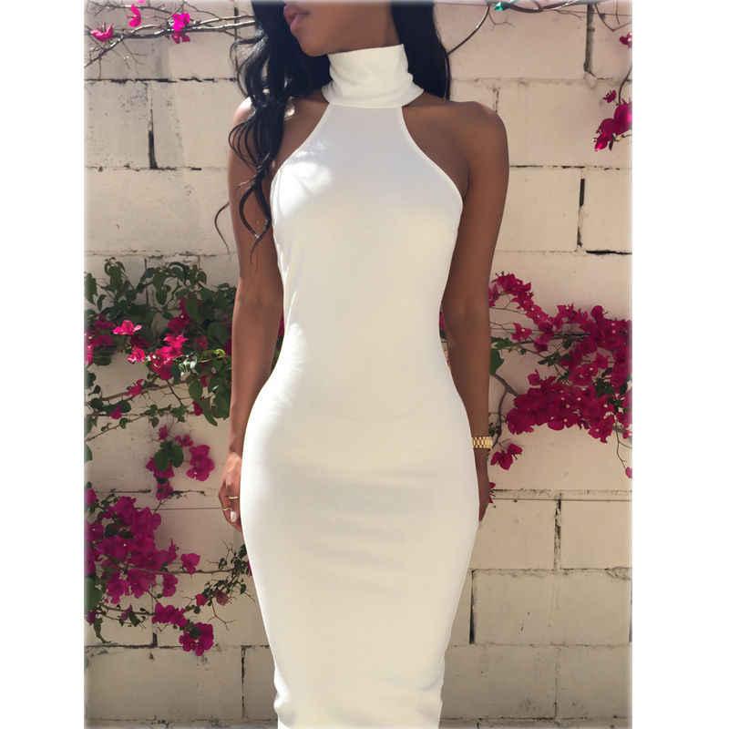 Nouveau été Sexy femmes gaine sans manches licou partie élégante gaine Cocktail robes courtes blanc moulante robe
