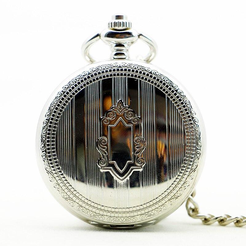 Fashion Silver Shield Design Exquisite Chain Steampunk Pendant Unisex Mechanical Pocket Watch Black Dial For Men Women PJX1185