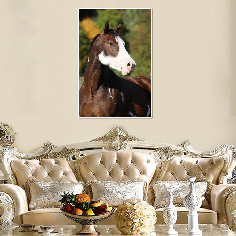 Unframed Canvas Animal Painting Brown Horse Running Picture Prints Wall Picture For Living Room Wall Art Decoration