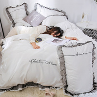 White Cotton Embroidery With Lace Wedding Bedding Sets Queen king Duvet Cover Set 4PCS Set Duvet cover Bed Sheet Pillowcase #s