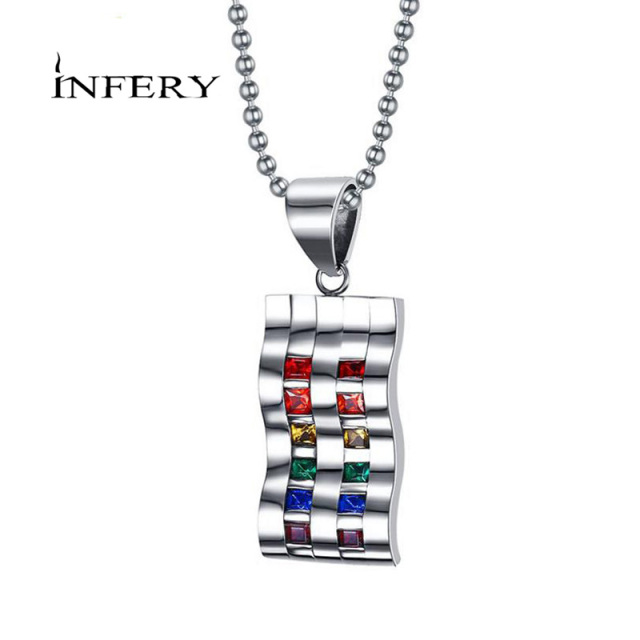 gift necklace rainbow pendant alloy itm chain gay stell lgbt stainless pride
