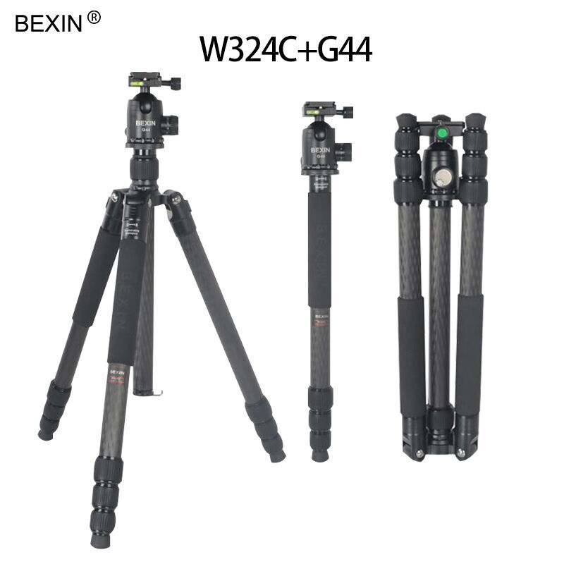 BEXIN W324C+G44 professional flexible carbon fiber traveling tripod with ball head chang Monopod for DSLR Camera BEXIN W324C+G44 professional flexible carbon fiber traveling tripod with ball head chang Monopod for DSLR Camera