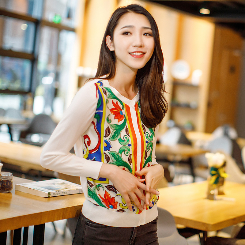 Cardigan Women Coat 2018 New Spring Summer Fashion Korean Sweater Women Elegant Long Sleeve Silk Print Patchwork Knitted Tops