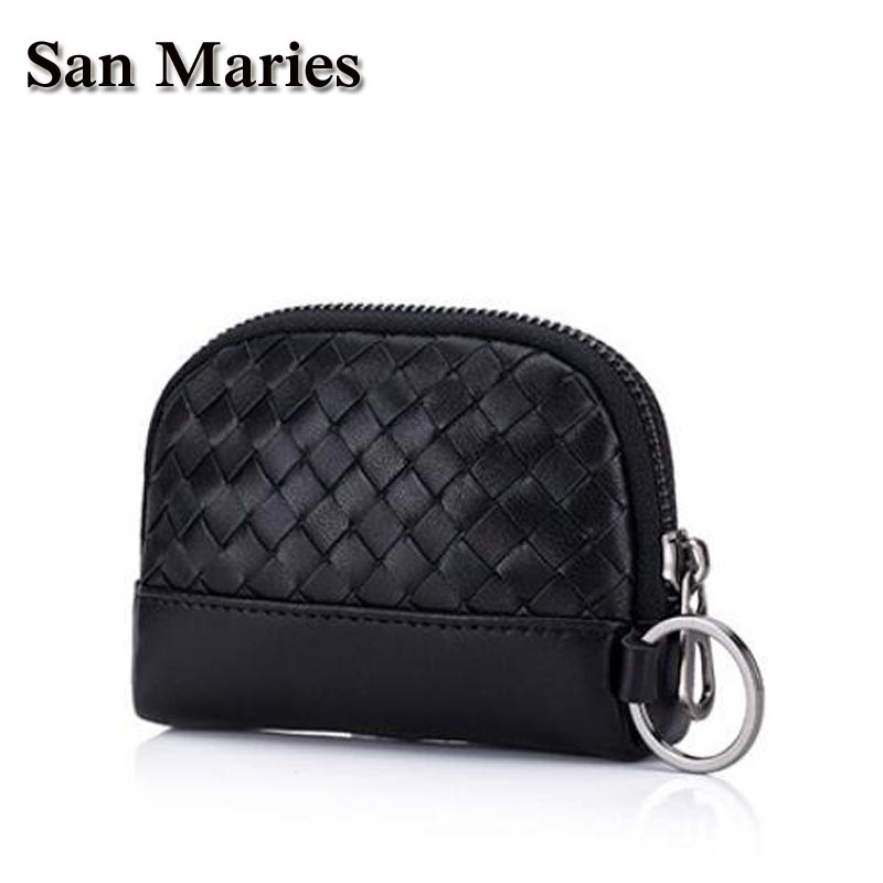 San Maries Luxury Knitting Sheepskin Leather Coin Purse Women Small Wallet Change Purses Zipper Money Bags Wallets Key Holder