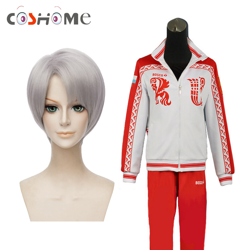 Coshome Yuri on Ice Cosplay Wigs Costumes Sportswear Victor Nikiforov Red Jacket Clothes Men Adult Tops Pants Set