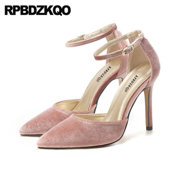 stiletto luxury ultra thin ladies high heels pink chic pointed toe 8cm velvet women ankle strap dress shoes pumps extreme super