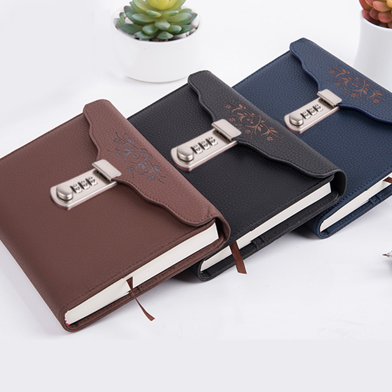 Individual Logo Custom B6 Notebook Writing Pads Lock Password PU Leather Notepad Travelers Office School Diary Binder Gift creative a6 diary with lock pu leather flower notebook school supplies lockable password writing pads notebook girl women gift