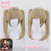 AniHut Black Cat Dva Wig Short Straight Hair with Bangs Ponytails Game OW D.VA Cosplay Wig OW New Skin Black Cat D.Va Cosplay