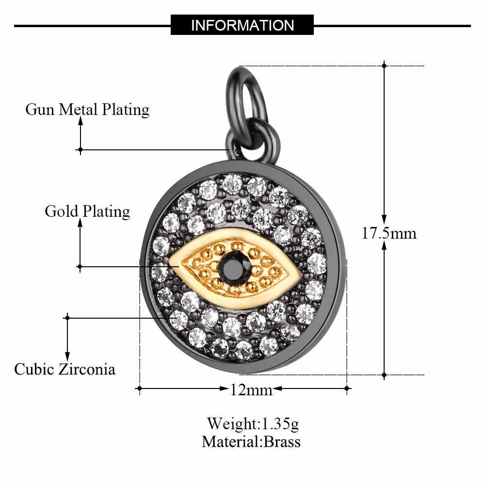 VNISTAR mauvais œil CZ breloque Micro pavé cubique zircone chanceux mauvais oeil pendentif breloques deux tons pistolet métal plaqué en gros