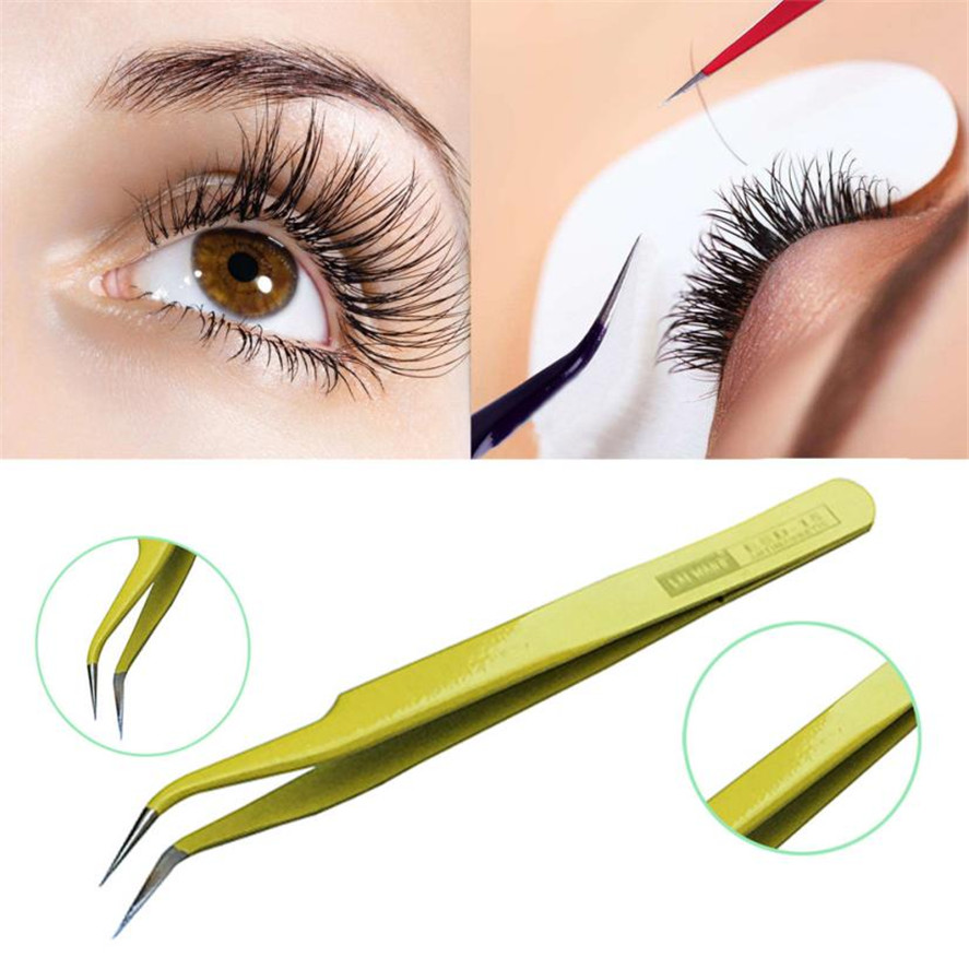 2017 New 1PC Professional Anti-Static Stainless Steel Eyebrow Tweezers Eyelash Curler Clip Plucking Beauty Tools
