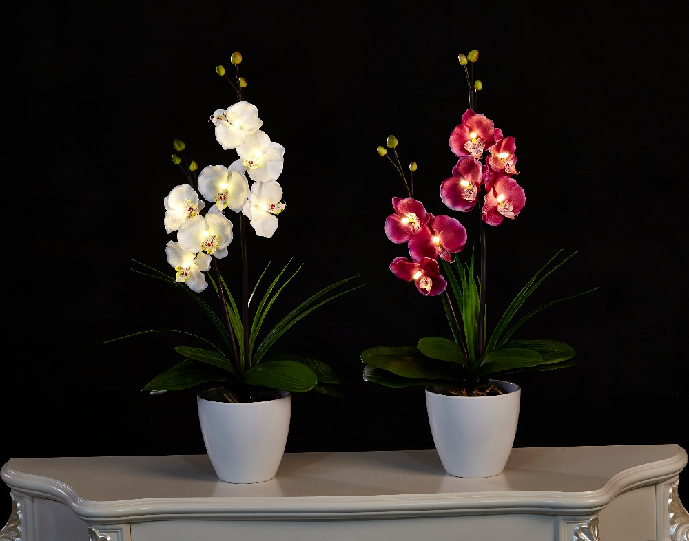 Free Shipping 20 (50cm) LED Blossom Orchid Flower Light 7PCs WarmLED with 2*AA Battery pot , 7 Blossom Orchid Flowers with buds