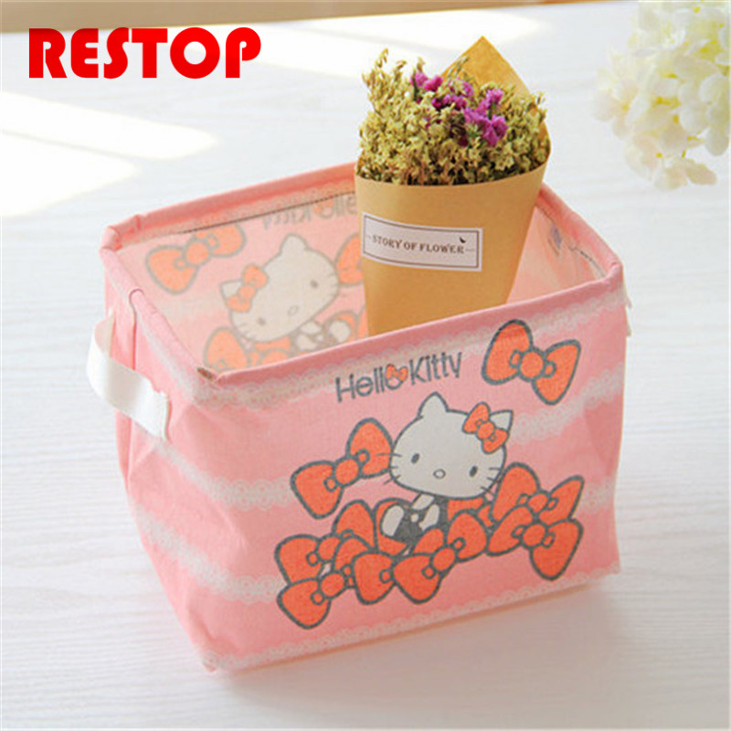 Hot Sales Hello kitty Melody Cotton Linen Desk Storage Box Holder Jewelry Cosmetic Stationery Organizer Case RES644