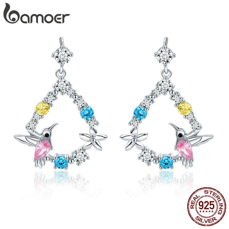 BAMOER 925 Sterling Silver Hummingbird Gift Colorful Cubic Zircon Stud Earrings for Women Sterling Silver Jewelry BSE011 925 sterling silver sweet butterfly pearl earrings for women gift zircon rhinestone stud earrings sterling silver jewelry