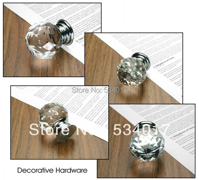 20pcs k9 crystal glass chrome cabinet door knob and handle
