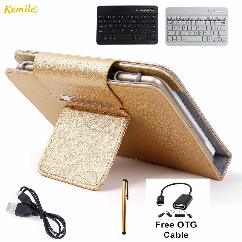цена на Kemile 8inch Portable Leather Case Cover Stand Wireless Bluetooth Keyboard For Huawei Mediapad T1 8.0 S8 Tablet keypad klavye