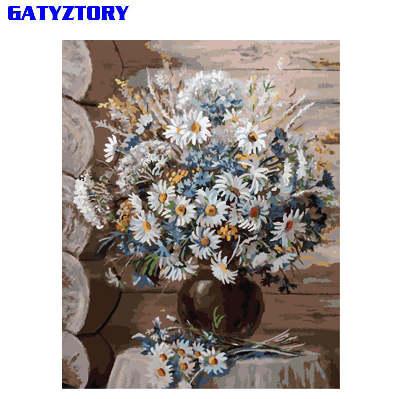 GATYZTORY Frameless Daisy DIY Painting By Number Flowers Modern Wall Painting Unique Gift Wall Art Picture Hand Painted For Home