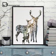Forest Deer Family Nordic Style Poster Canvas Print Minimalist Abstract Wall Art Painting Decorative Picture Modern Home Decor