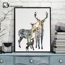 Wald Deer Familie Nordischen Stil Poster Leinwand Drucken Minimalistischen Abstrakte Wandkunst Malerei Dekorative Bild Moderne Wohnkultur