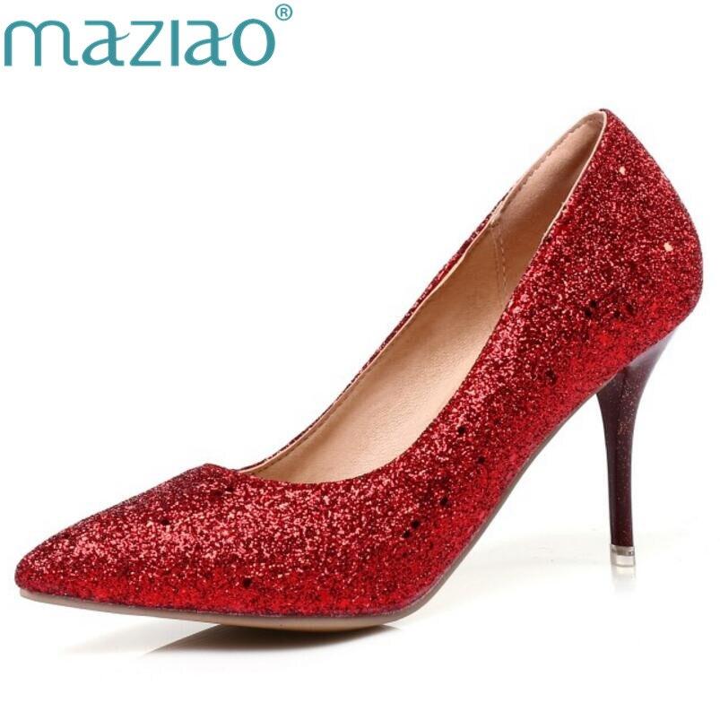 Online Shop MAZIAO women high heels prom wedding shoes lady crystal  platforms silver Glitter rhinestone bridal shoes thin heel party pump  46c370fd5faa