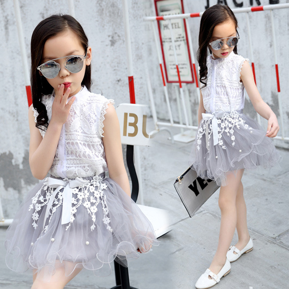 Teenage Girls Clothes Sets Summer Spring Lace Shirt + Dress Kids Outfit Clothes Set 4 6 8 10 12 Kids Girls Clothes