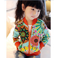 2017 Baby girls Summer Autumn coat girls jackets & coats Children Sunflower embroidery Kids outerwear Toddlers Clothing
