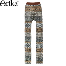 Artka Women's Autumn New Catalonian Series Printed Cotton Stocking Slim Fit Ankle-length Comfy Stocking ZA15052C
