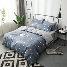 Grey AB Side Duvet Cover 4pcs Bedding Set Soft Cotton Bedlinen High Quality Quilt Pillow Case Bed Linens Sheet 1.8m 2m 2.2m 2.3m(China)