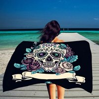 Big Flowers and Skull Design Skeletons All Saints Day Halloween Image Bedroom Living Room Dorm Wall Hanging Tapestry