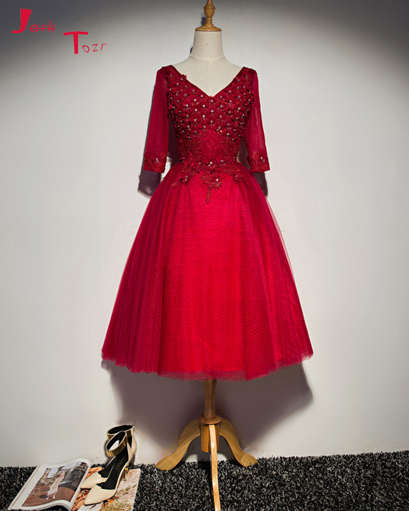 Jark Tozr New Arrival Party Gowns Robe Longue 2018 V neck Appliques Pearls Crystal Flowers Lace Red Homecoming Dresses For Girl