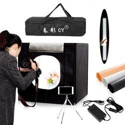 CY 60*60 سنتيمتر LED صور إضاءة الاستوديو خيمة سوفت بوكس مصباح التصوير خيمة لينة صندوق المحمولة حقيبة محول ل مجوهرات اللعب Shoting