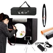 CY 60*60 เซนติเมตร LED Photo light เต็นท์ Softbox ยิงเต็นท์กล่องนุ่ม + กระเป๋าแบบพกพา + อะแดปเตอร์ AC สำหรับเครื่องประดับของเล่นยิง