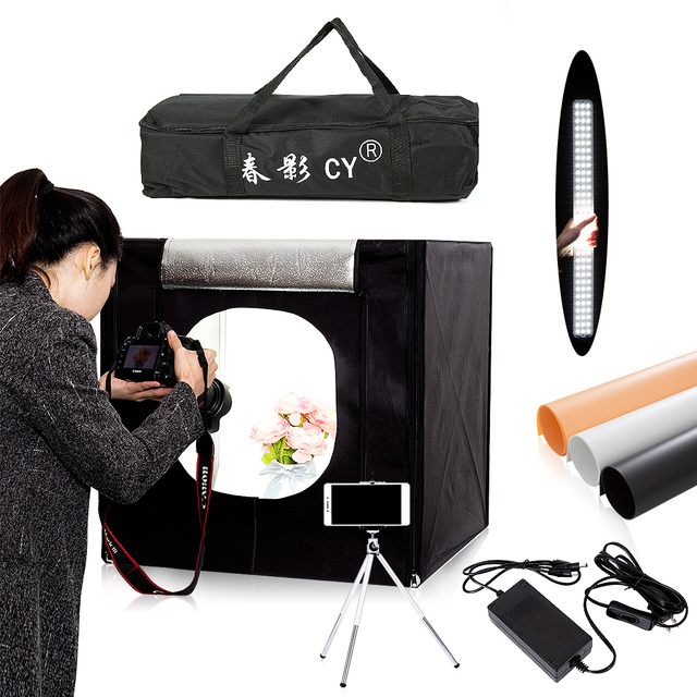 CY 60*60 cm LED Photo light Studio tenda di Ripresa Softbox Tenda di Luce Soft Box + Sacchetto Portatile + AC Adapter per i Giocattoli Dei Monili Shoting