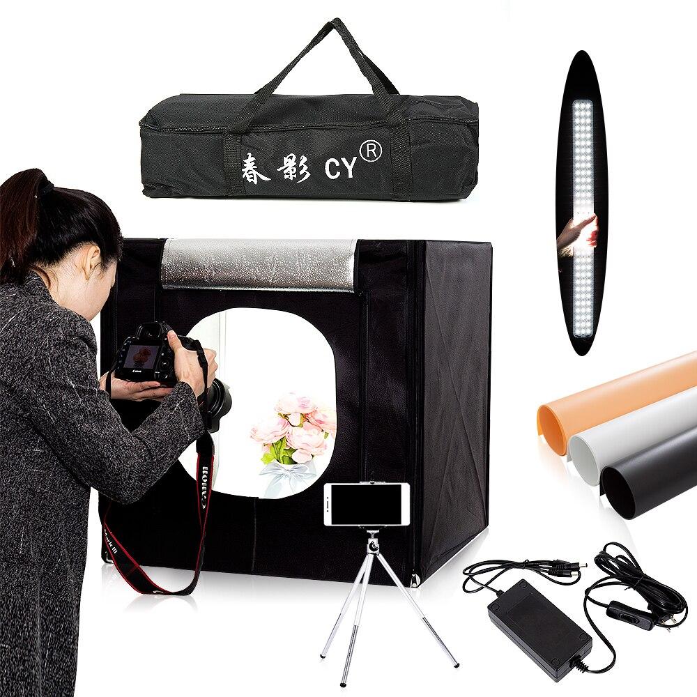 CY 60*60 cm LED foto estudio luz tienda Softbox Shooting light tienda suave caja + bolsa portátil + adaptador de CA para joyería juguetes Shoting
