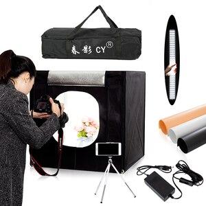 Image 1 - CY софтбокс для фотостудии, 60*60 см светодиодный софтбокс для фотосъемки, мягкая коробка + переносная сумка + адаптер переменного тока для ювелирных изделий, игрушек, обуви