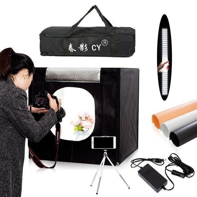 CY софтбокс для фотостудии, 60*60 см светодиодный софтбокс для фотосъемки, мягкая коробка + переносная сумка + адаптер переменного тока для ювелирных изделий, игрушек, обуви
