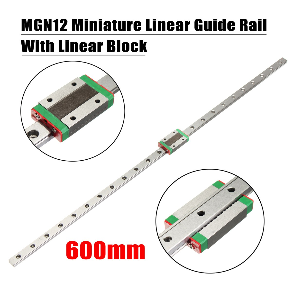 New High Quality 3D Printer Axis Parts Linear Rail Guide Slide MGN12 12mm 600mm + Mini MGN12H Linear Block Black scv25uu slide linear bearings aluminum box type cylinder axis scv25 linear motion ball silide units cnc parts high quality