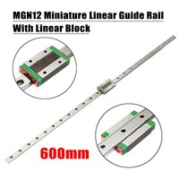 New High Quality 3D Printer Axis Parts Linear Rail Guide Slide MGN12 12mm 600mm + Mini MGN12H Linear Block Black