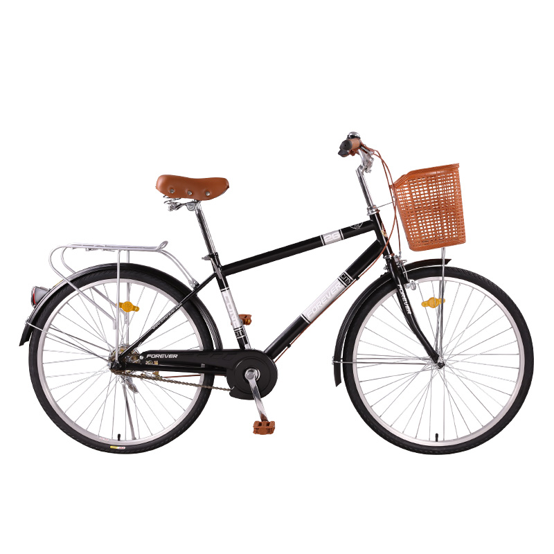 Bicycle Adult Commuter 26 Inch City Retro Large Capacity Car Basket High Carbon Steel Rivet Seat Skid Pedal Rear Brake