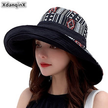 XdanqinX Large Womens Bucket Hat Foldable Elegant Ladies Beach Hats 2019 New National Wind Female Fashion Novelty Sunscreen