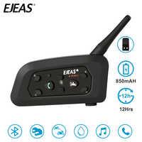 EJEAS V6 Pro 850mAh Intercom Bluetooth Motorcycle Helmet Headset 6 Rider Comunicador Noise Control Water Resistant 1200M