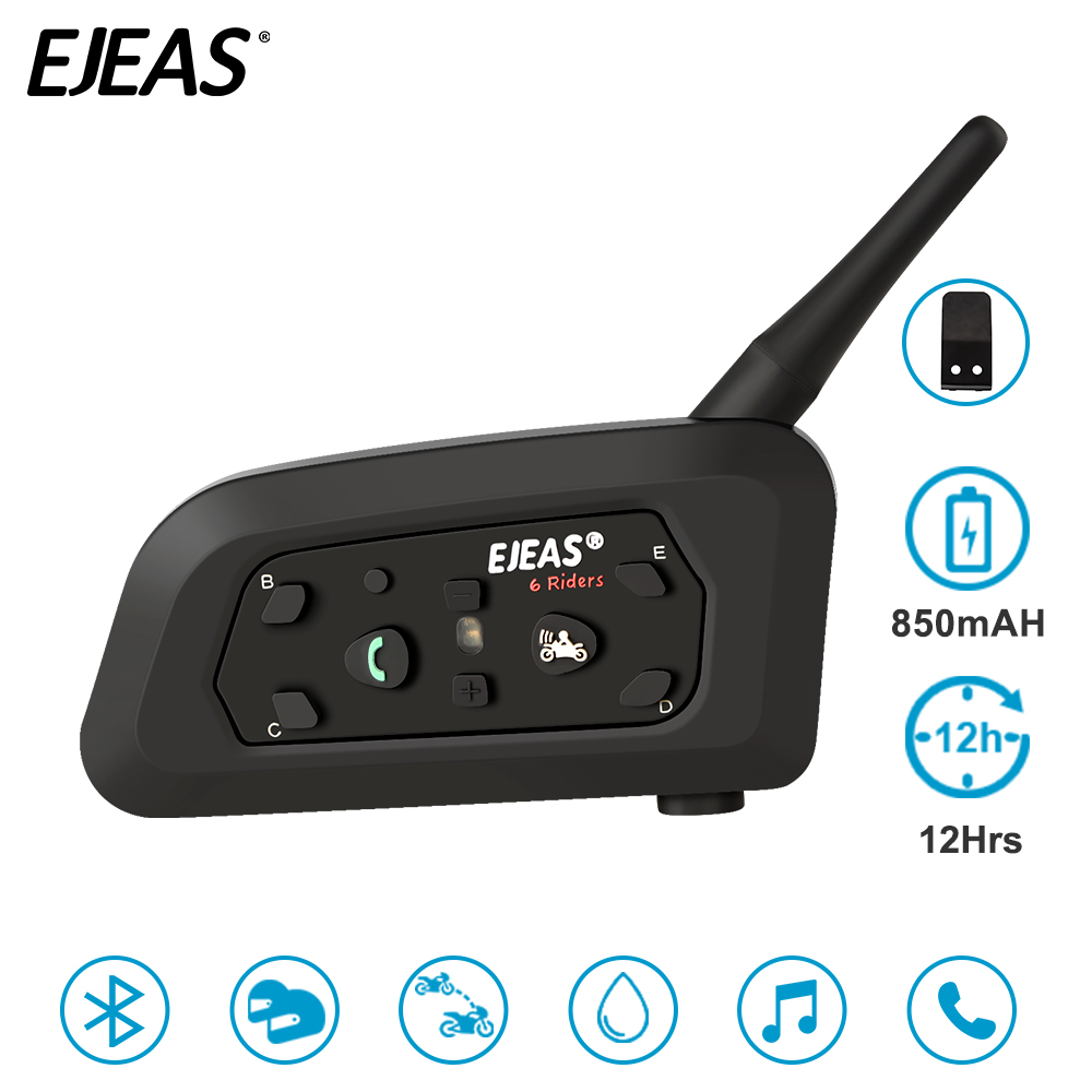 EJEAS V6 Pro 850mAh Intercom Bluetooth Motorcycle Helmet Headset 6 Rider Comunicador Noise Control Water Resistant