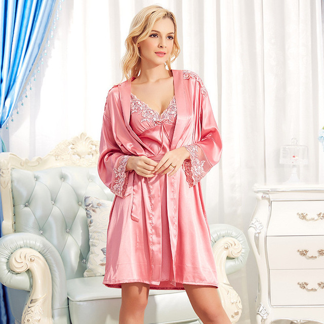 Wholesale Ms. Robe pajamas Condole belt nightgown Household to take pajamas  clothes Ladies Bud silk dress Summer new product f7d816167