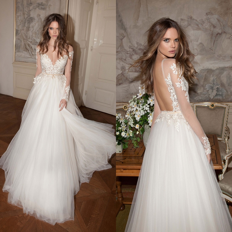 Buy a line long sleeves sheer v neck for Lace wedding dresses open back