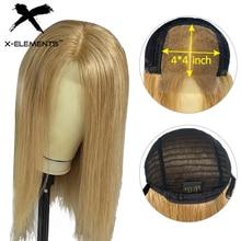 Малайзии прямые парики из человеческих волос парики с детскими волосами 4x4 закрытие парик человеческих волос эффектом деграде(переход от темного к Мёд светлые бордовый парик из человеческих волос