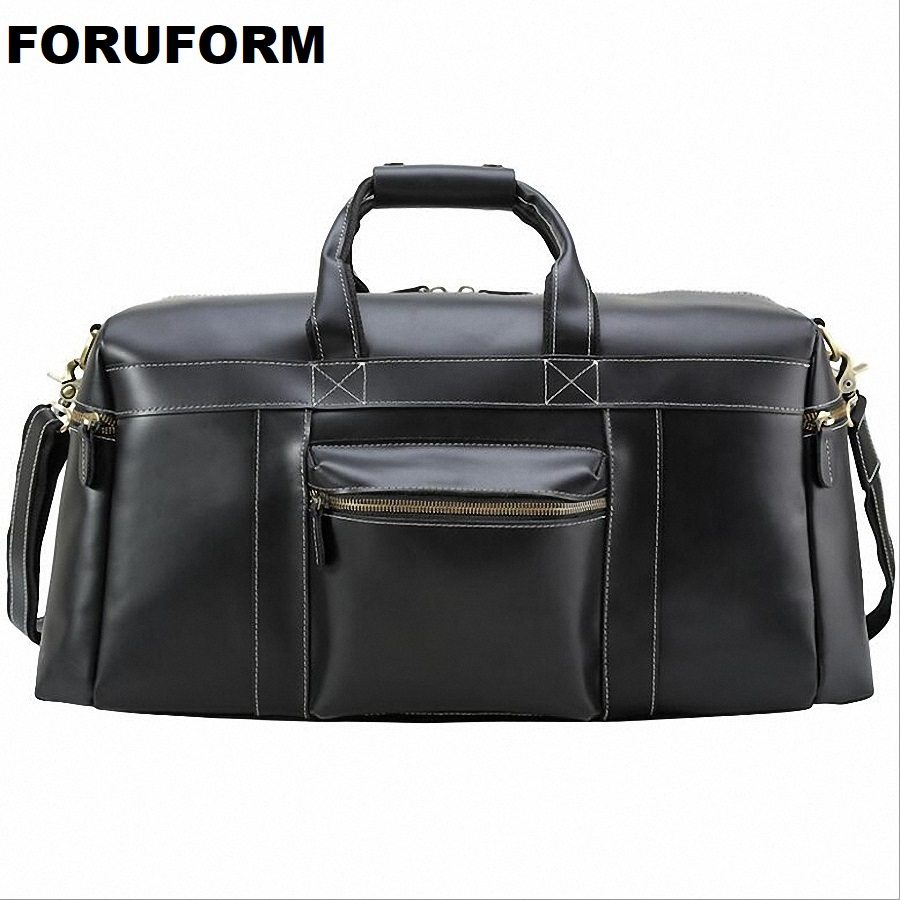 Men Travel Bag Leather Bag Vintage Black Designer Travel Overnight Tote Large Capacity Luggage Bag Shoulder Travel Bag LI-2108 mybrandoriginal travel totes wax canvas men travel bag men s large capacity travel bags vintage tote weekend travel bag b102