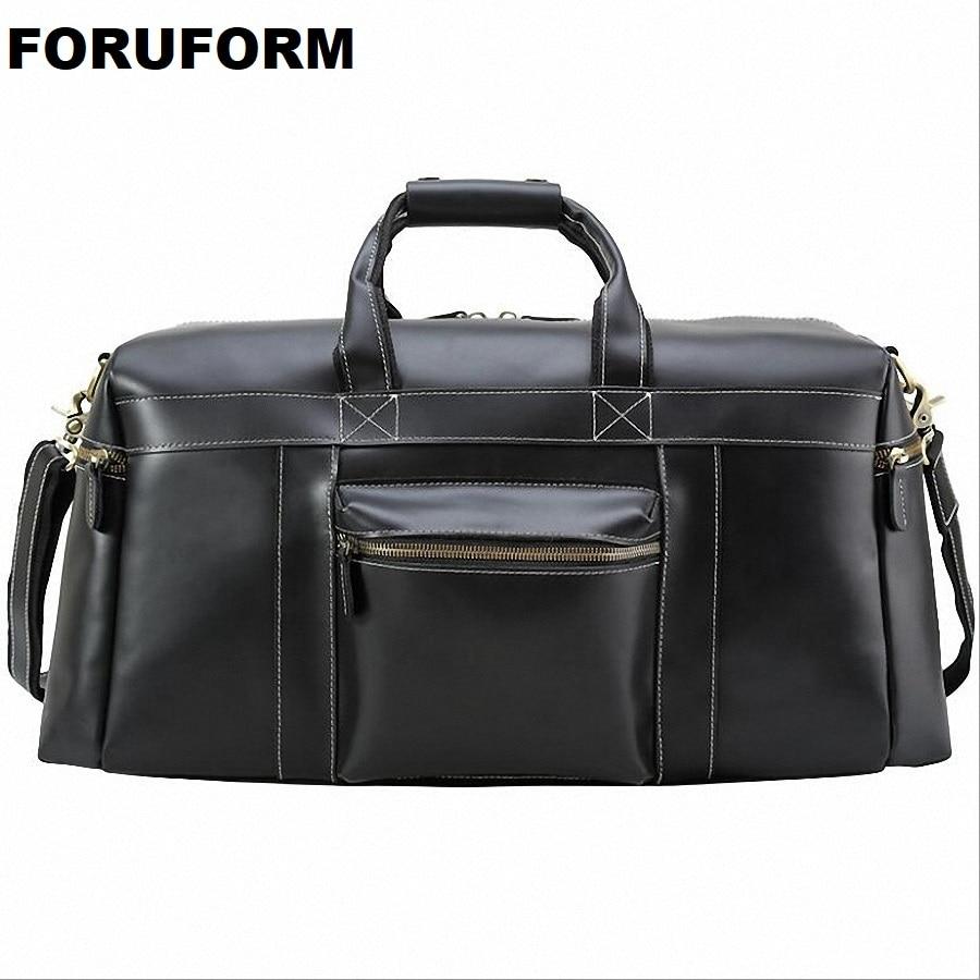 Men Travel Bag Leather Bag Vintage Black Designer Travel Overnight Tote Large Capacity Luggage Bag Shoulder Travel Bag LI-2108 2108