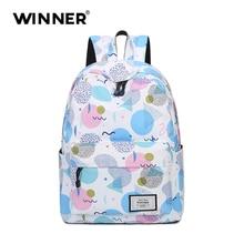 Победитель Высококачественная брендовая одежда Рюкзаки Мода wavs печать рюкзак женщины Mochila случайный плечо школьная сумка дорожная сумка
