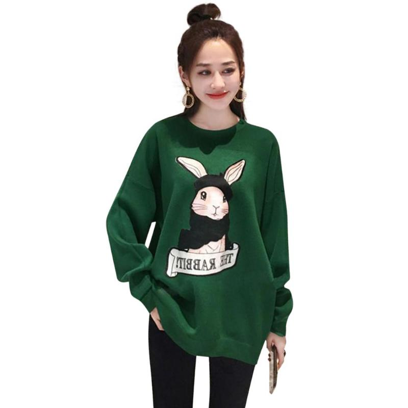 Cartoon Rabbit Women Long Sleeve Sweatshirt Autumn O-Neck Daily Pullover Loose Casual Green Bottoming Tops Fashion Girl Female