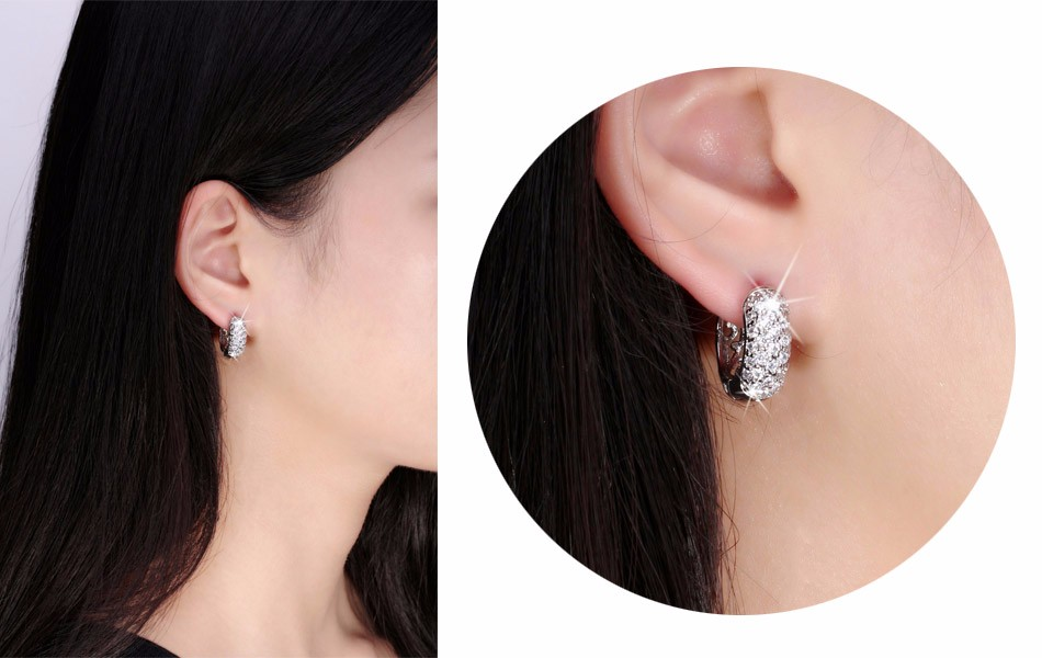 Circle Austrian Clear Cz Earring For Women Fashion Party Elegant Stud Earrings Jewelry